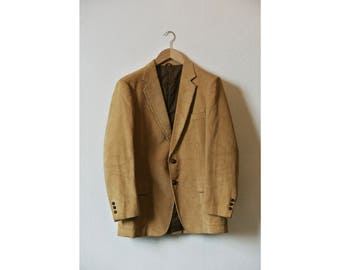 THREE PIECE SUIT / beige corduroy / cotton / 1970's