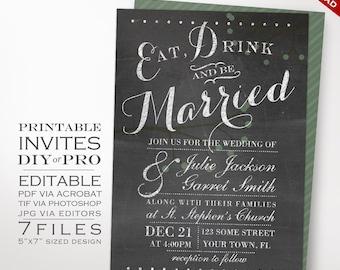 Wedding Invitation Template - Chalkboard Wedding Invitation - Printable DIY Berries Chalkboard Wedding Invitation Editable Wedding Invite