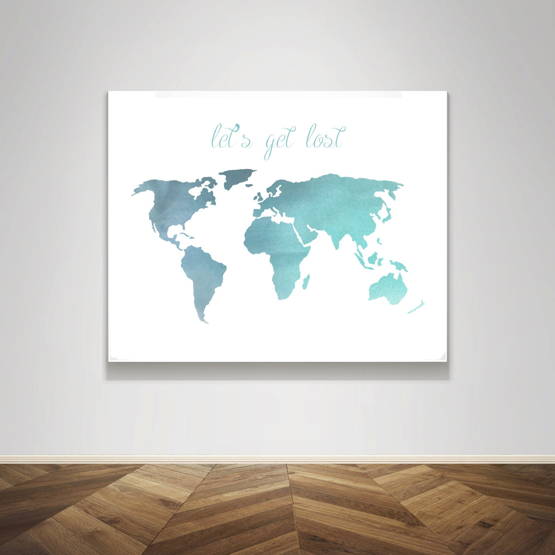 Aquarell-Weltkarte verloren wir reisen Wort Zitat