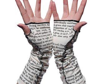 Romans 12 Writing Gloves - Fingerless Gloves, Arm Warmers, Literary, Book Lover, Books, Reading