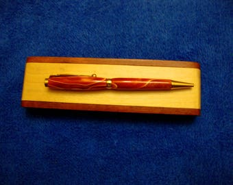 Handmade Acrylic Pen With Maple and Rosewood Box Orange Caramel Color Pen One Of A Kind Gift Under 50 Dollars