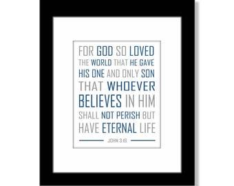 John 3:16 For God So Loved the World Scripture Art Print, Confirmation Gift for Boy, Confirmation Gift for Girl, Scripture Wall Art