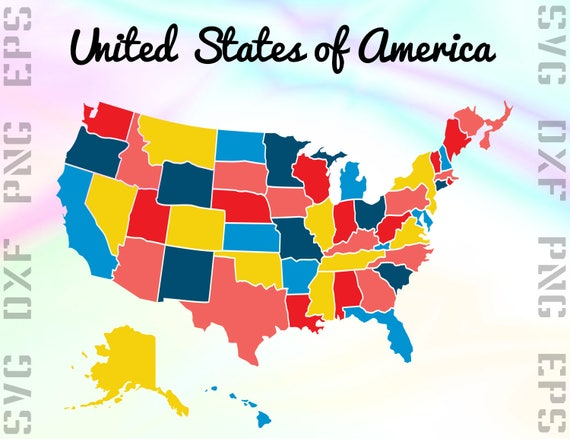 USA States SVG Files USA Map Dxf Files United States Clipart