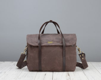 Personalised waxed canvas laptop shoulder bag