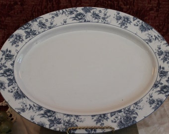 """Lynne's Chesam Chintz 14"""" Serving Platter - Blue and White Floral"""