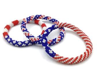 3 Pcs USA Flag design  Nepal Bracelets Set.  Perfectly Matched Set of Red, White and Blue. Glass seed beads roll on Bangle Set.