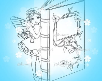 Angel Book Fairy Girl - Line Art Digital Stamp Image Adult Coloring Page Printable Instant Download