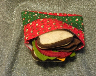 Reusable Sandwich Bag, Quilted Ducks on Red N Green Stripes Print