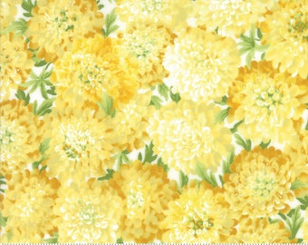SUMMER BREEZE IV - #33281-18 -  Dahlias Yellow - by Sentimental Studios for Moda - Blues - Yellows - Classic