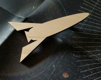 Rocket ship wooden pin