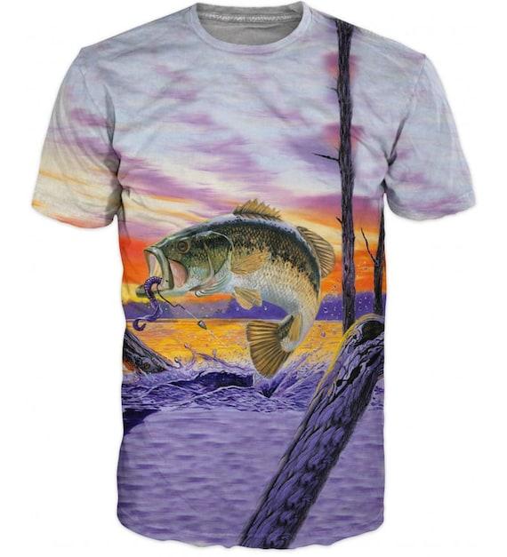 Cool Mens T-shirt 3D Perch Sublimation Printed Perch Fishing Hobby 8OZCvVX