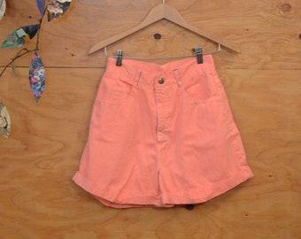 Vintage 80's Paris Blues High Rise Jean Shorts In Neon Peach Unique Flare So On Trend SZ M