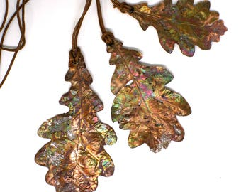 Lace bitten copper oak leaf necklace | REAL forest oak leaf pendant | Copper leaf charm | Copper lace leaf pendant