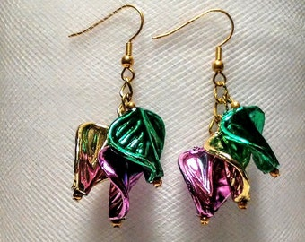 Unique Mardi gras earrings with purple gold and green acrylic leaves hung from gold chain