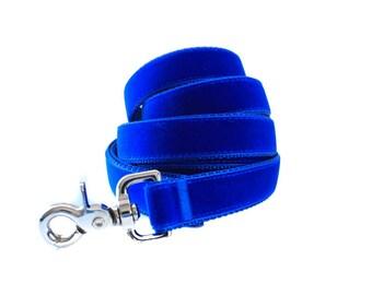 Velvet Dog Leash Lead, Royal Blue Velvet Leash, 5 foot Dog Lead, Blue Velvet Leash, Velvet Leash Lead