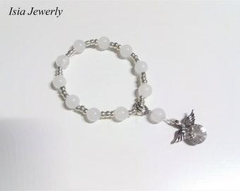 Bracelet rosary for children with CZ zircon crystal angel