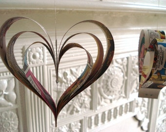 Heart Decorations made from Comic Books, Vintage Recycled Paper Ornaments, Wedding Decor