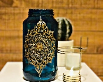 Henna Moroccan Indian Bohemian Henna Jar 24 oz Candleholder with Handpainted Details