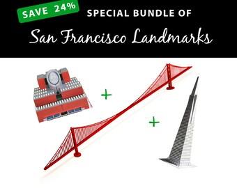 San Francisco Landmarks, SAVE 24% with this value bundle || San Francisco MoMA Building || Golden Gate Bridge || San Francisco Pyramid