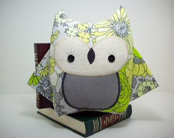 Owl plush toy in grey and yellow floral, owl nursery decor, girl owl pillow, baby shower gift