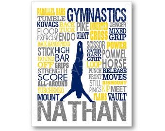 Gymnastique typographie affiche des hommes, impression d'Art gymnastique, gymnaste toile, Art gymnastique garçons, gymnastique équipe cadeau, cadeau de l'entraîneur de gymnastique