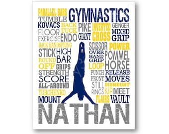 Men's Gymnastics Typography Poster, Gymnastics Art Print, Gymnast Canvas, Boys Gymnastics Art, Gymnastics Team Gift, Gymnastics Coach Gift