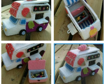 Toy ice cream truck crochet (made-to-order)