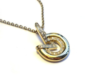 Vintage necklace with pendant, modernist necklace with Pedant, gold plated double, fashion jewelry, chain pendant necklace