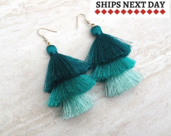 Teal Hues Silk Tassel Earrings, Aqua Ombre Drop Earrings, Silk Tassels, Unique, Handmade, Boho Earrings, Wedding Earrings, Gift for Her