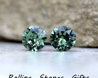 7.27mm earrings,  Erinite Studs,  Green Crystal Studs, Rhinestone Studs, Crystal Stud Earrings, Stud Earrings, Rhinestone Stud