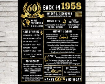 60th Birthday gift, 60 Years Ago in 1958, 60th Birthday Sign, 60th Birthday Gift for Him, Printable 60th Birthday Chalkboard, 1958 Birthday