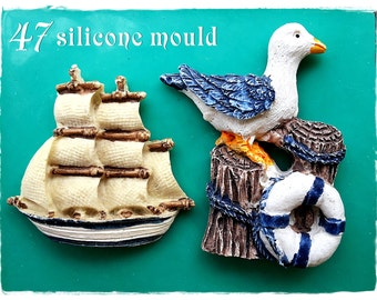 Gull and Ship...Silicone mold  47