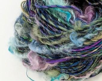 Handspun Art Yarn, Textured Yarn, Art Yarn, Green, Blue, Knitting, Crochet, Weaving Yarn, Handspun Yarn, Worsted Weight Yarn, Crafts - RAIN