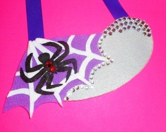 Fabulous Felt Black Widow Necklace