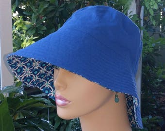 Cancer Hat Sun Hat Wide Brim Hat Made in the USA Alopecia Hat MEDIUM