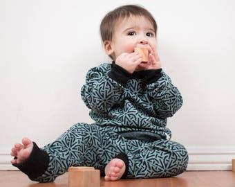 Pure Merino Wool Pyjama Set - Teal & Navy Geometric / Kid Toddler Child Base Layer / Merino Wool Pajama Set / Size up to 8