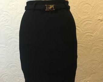 Vintage Skirt- Vintage Gianni Petite Black Wool Pencil Skirt