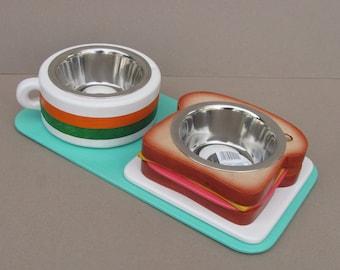 Pet feeder TOAST & COFFEE S (light) - elevated pet bowl holder  - raised pet feeder - dog bowl stand - cat bowl holder - pet food feeder