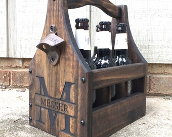 Customizable Beer Caddy - Wooden Bottle Holder - Beer Tote - Beer Holder - Tailgate Tote - Wedding Party Beer Gift - Beer Lovers Tote