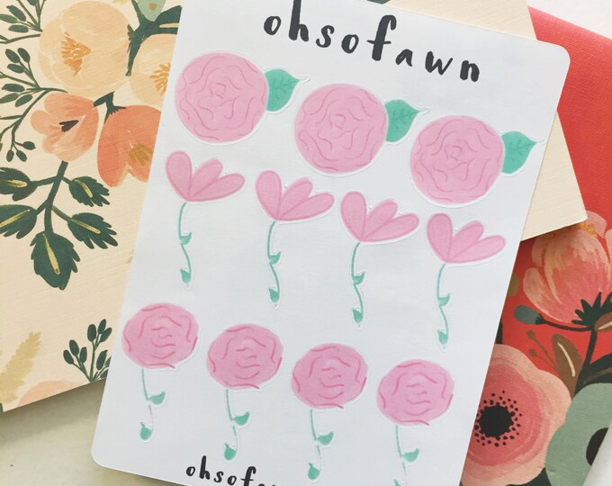 Hand Drawn Flower Stickers