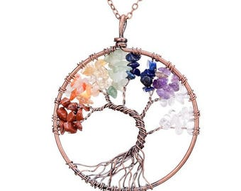 7 Chakras Tree Of Life Pendant Necklace In Copper Setting -Yoga- Reiki- Meditation-Healing Jewelry