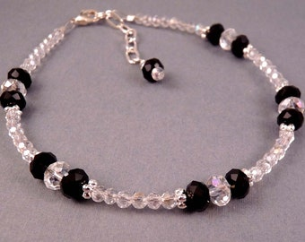 Crystal Anklet Beaded Anklet Crystal Ankle Bracelet  Anklet Crystal Jewelry Black Jewelry Beaded Jewelry