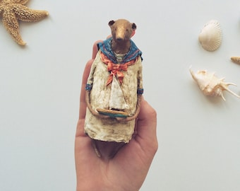 Collectible Handmade Spun Cotton Ornament Bear in a Nautical Style Dress with a Sailboat,OOAK,Art,Anthropomorphic Character,Miniature,Decor