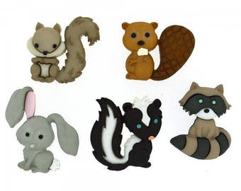 SET of 5 Adorable Backyard Buddies buttons with Shanks/Hoops Craft/ knitting/sewing/ Embellishment/Bow centers