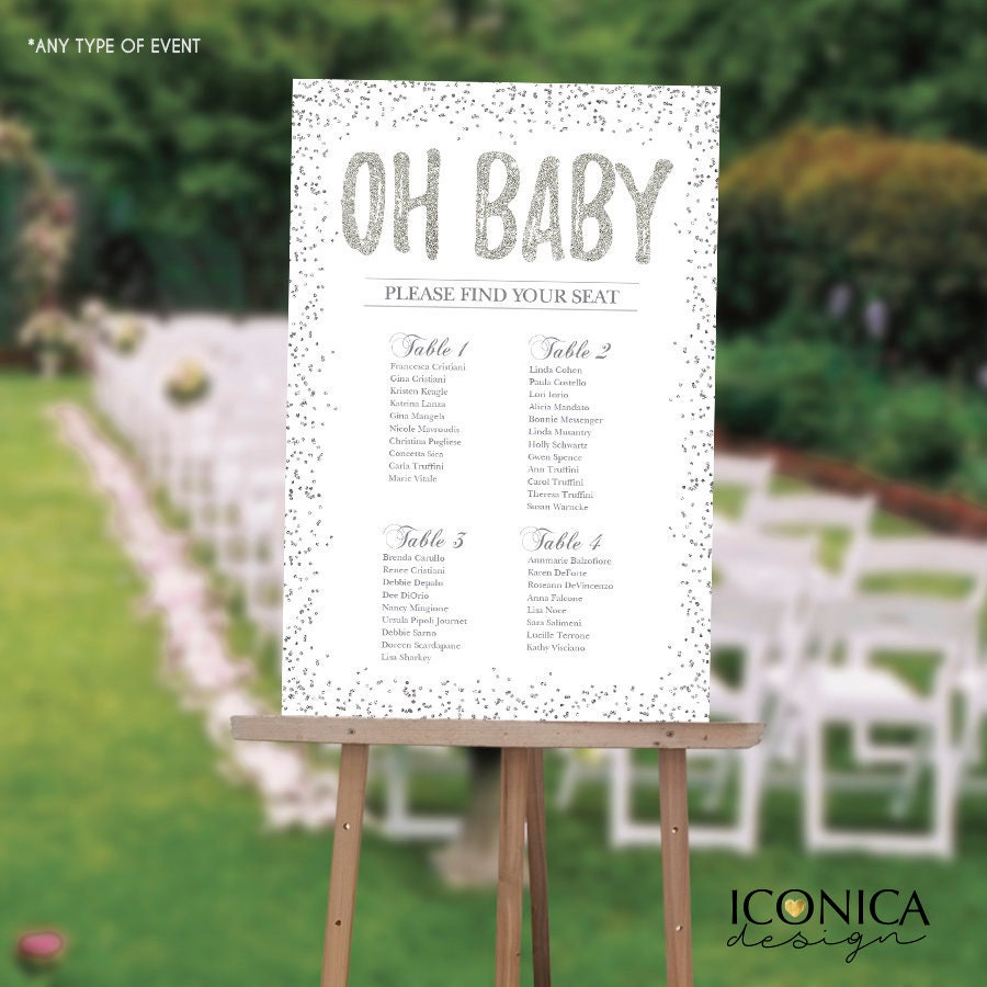 BABY SHOWER Seating Chart Board, Oh baby Seating Chart, Baby Shower ...