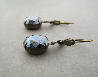 Hematite Earrings - Vintage Glass Charcoal Grey Black - Brass Leverback - Elegant