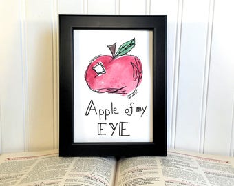 Original Watercolor Painting - Apple Of My Eye - Unframed