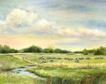 Cow painting, giclee print, 18x24 landscape painting with cows
