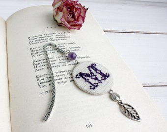 Personalized bookmark with monogram Custom bookmark for Bible Amethyst beaded initial bookmark with custom letter Teacher appreciation gift