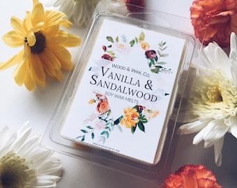 VANILLA & SANDALWOOD Soy Wax Melts | Scented Wax Melts | Scented Wax Tarts